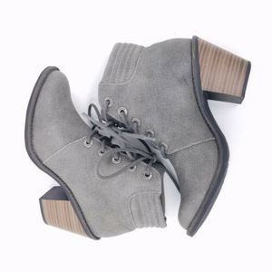 Blowfish Booties 6 Lace Up Heeled Metallic Gray